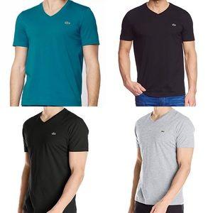 Lacoste Prima Cotton V-neck T-Shirt Top 5191L